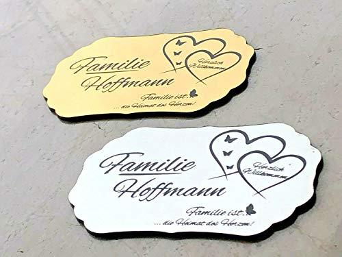 Klingelschild Türschild Briefkastenschild mit Herzen und einem Spruch inkl. Gravur selbstklebend
