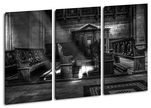 hell erleuchtete Kirchenbank Format: 3-teilig 120x80 Effekt: SchwarzundWeiß als Leinwandbild, Motiv fertig gerahmt auf Echtholzrahmen, Hochwertiger Digitaldruck mit Rahmen, Kein Poster oder Plakat