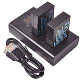 DSTE 2X LP-E12 Repuesto Batería + Cargador USB Dual con Pantalla LCD Compatible para Canon EOS M, EOS 100D, EOS Rebel SL1, EOS Kiss X7 Digital Cámara
