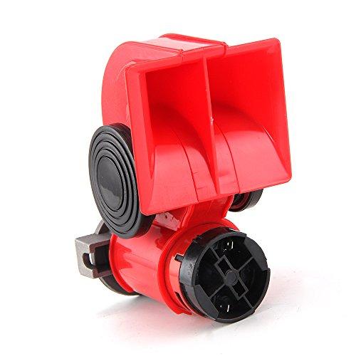 Allright 12V Kompressor Fanfare 130dB Druckluft Horn Hupe Rot Kompressor Lufthorn für LKW PKW Boot