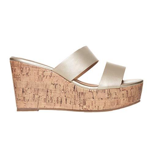 Rohb by Joyce Azria Casablanca High Heel Platform Wedge Slip On Sandal (Gold) Size 8