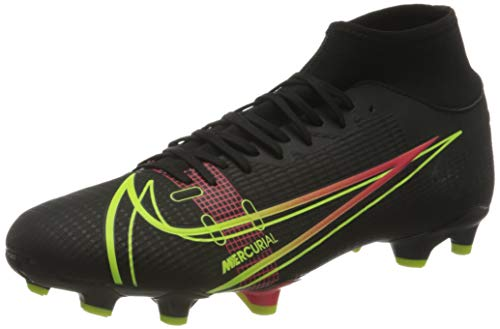 Nike Herren Mercurial Superfly 8 Academy FG/MG Football Shoe, Black/Cyber-Off Noir-Rage Green-Siren Red, 45 EU