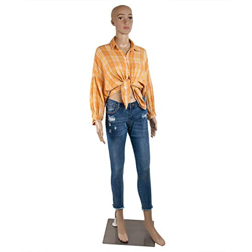 69 Inches Female Mannequin Full Body Realistic Adjustable Mannequin Display Head Turns Dress Form W/Metal Base
