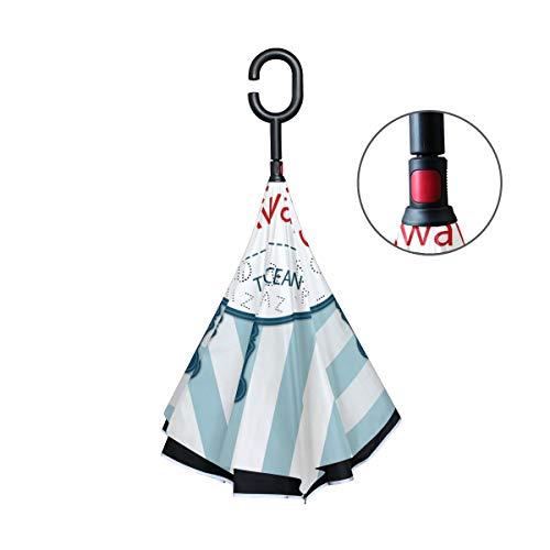 FANTAZIO Omgekeerde Paraplu Zeeman Achtergrond Met Roer Dubbele Laag UV Bescherming Omgekeerde Paraplu Zelfstandige C Vorm Handvat Inside Out Vouw/Ontvouwen Winddicht en Waterafstotend