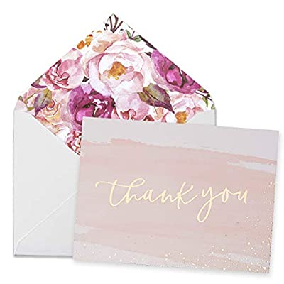 """Thank You Cards-48 Bulk Blank Gold Foil&Watercolor Bulk Box Set with Elegant Floral Envelopes &Stickers for Wedding, Baby Shower, Bridal Shower, Business, Anniversary, Funeral -4"""" x 6"""""""