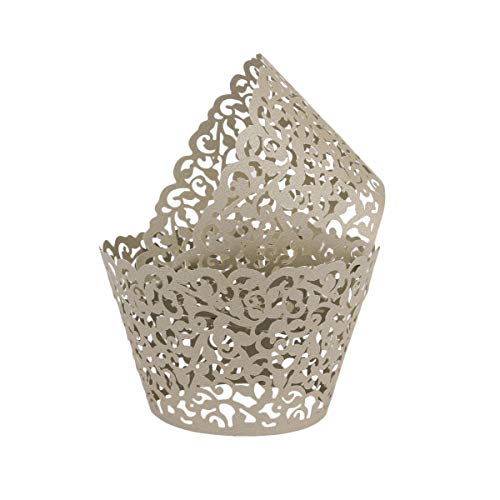 (Lace Cupcake Wrappers,DriewWedding 100pcs Artistic Bake Cake Paper Filigree Little Vine Lace Laser Cut Liner Bake Cake Paper Cups Baking Cake Cup Wraps Muffin CaseTrays- Purple,Grey