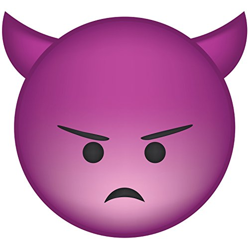 Frankies Cajun Customs Angry Devil Face Emoji Vinyl Decal for Wall, Car Or Laptop - 48 inch x 44.38 inch