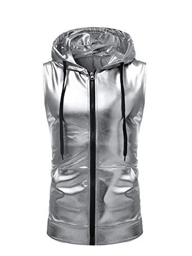 SAINDERMIRA Men's Metallic Satin Casual Zip-Front Sleeveless hoodie vest with Nightclub style(silver,XL)