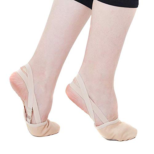 Lanbowo Suave Medio Punto Calcetines Rhythmic Gimnasia Zapatos Puntera Elástico Danza Pies Protección Zapatos Baile Accesorios para Niñas - Nude, X-Large