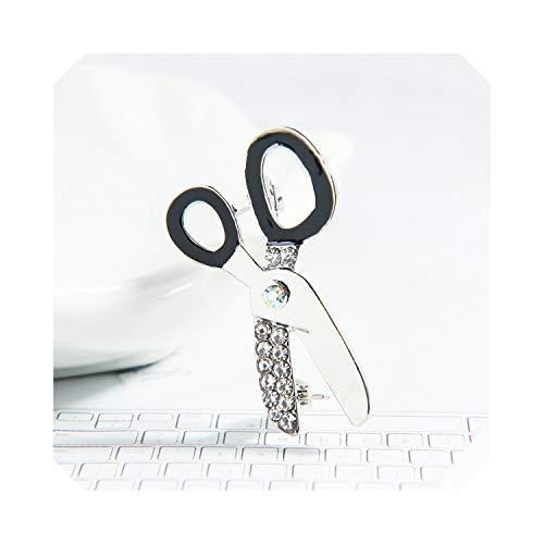Ta-Da 1Pc Metal Brooch Collar Pin Women Jewelry Garment Accessories Fashion Scissors Shape Badge Gift for Best Friend Kids Girl,Silver
