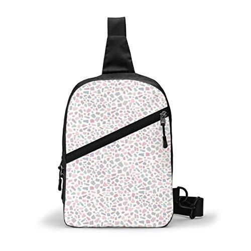 Terrazo geométrico retro rosa paquete de pecho multipropósito Crossbody al aire libre bolsa de hombro mochila mochila de gran capacidad casual deporte mochila para senderismo viaje deporte