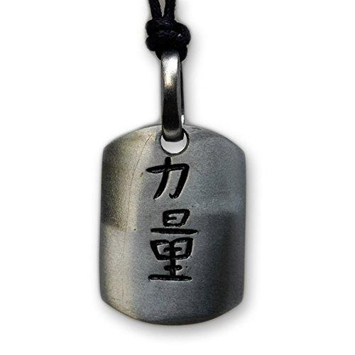 International Connection Kette Anhänger Zinn Motiv Chinesische Zeichen für Kraft und Glück