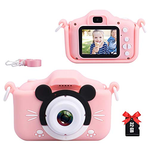 Kids Camera, Digital Selfie Camera 20MP 1080P HD Video Recorder IPS Screen Toddler Cartoon Toy Camcorder with 32GB SD Card, Children Birthday Gifts for 3 4 5 6 7 8 9 10 Year Old Boys Girls