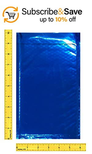 Amiff Bubble mailers 5x9. Padded envelopes 5 x 9. Exterior size 6x10 (6 x 10). Peel & Seal. Glamour Metallic foil. Pack of 25 Blue cushion envelopes. Mailing, shipping, packing, packaging Photo #3