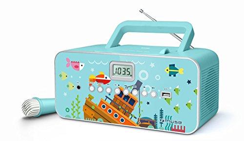 Muse M-29KB CD-Radio für Kinder mit Mikrofon und Sing-A-Long Karaoke Funktion (CD / MP3, USB, AUX-In, LCD-Display, Teleskopantenne), Blau mit Meeresmotiv
