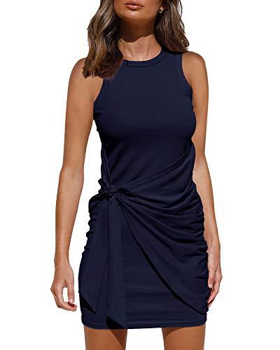 LILLUSORY Women's Summer Casual Sleeveless Tank Dress 2021 Crewneck Bodycon Ruched Tie Waist Mini Dresses Navy Blue