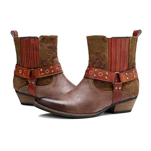 JRY Botas de Mujer Botas de Campo para Mujer - Punta Puntiaguda Cuero Botas al Tobillo Impermeables Adultos Ecuestre Señoras Mujeres Equitación Caminar Zapatos al Aire Libre