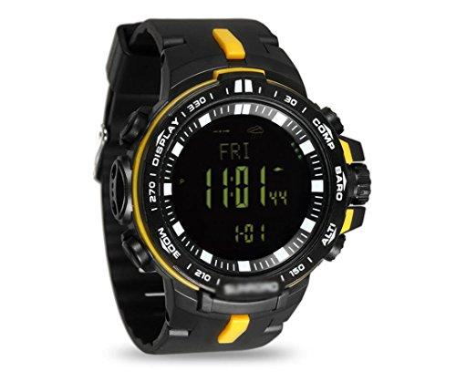Hycy Outdoor Digital Sportuhr Männer 5ATM Wasserdicht Höhenmesser Kompass Angeln Barometer Barometer Höhenmesser Wettervorhersage