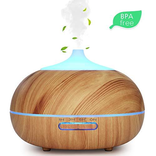 WD&CD Aroma Diffuser Luftbefeuchter 300ml Leichte Holzmaserung, Ultraschall Vernebler Duftlampe Öle Diffusor mit 7 Farben LED Wasserlose Abschaltautomatik für Schlafzimmer, Büro, Yoga, Spa