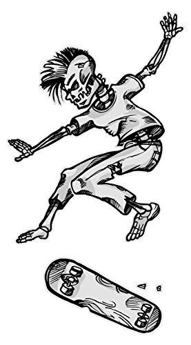 Wandtattoo Jugendzimmer Wandsticker Skateboard Skelett im Sprung Totenkopf Skat