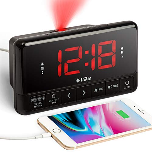 Projection Alarm Clock Radio, Bedside Digital LED Projector Alarm Clock Non...