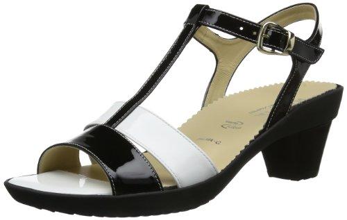 Hassia Damen Palma, Weite G T-Spangen Sandalen, Schwarz (schwarz/weiß 0102), 40.5 EU
