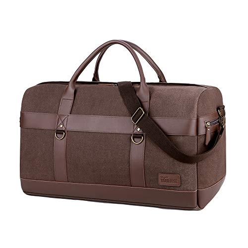 Wohlbege Men Simple Canvas Travel Bag Vintage Large Capacity Duffle Bag Crossbody Bag Big Tote Bag Weekend Bag Business (Brown)