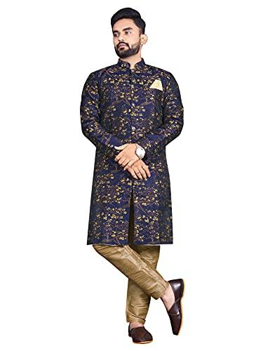 Amzira Men's Yellow Traditional Sherwani Indian Wedding Dress Party Outfit