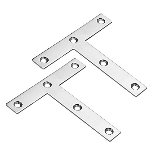 uxcell Flat T Shape Repair Mending Plate, 120mmx120mm, Stainless Steel Joining Bracket Support Brace, Pack of 2