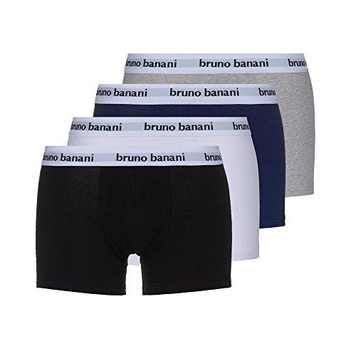 bruno banani Herren Unterhosen Snazzy (4er Pack) Schwarz/Weiss/Blau/Grau Medium
