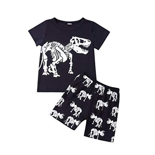 Conjunto de 2 piezas de playera y pantalones cortos con estampado de dinosaurios de manga corta para…