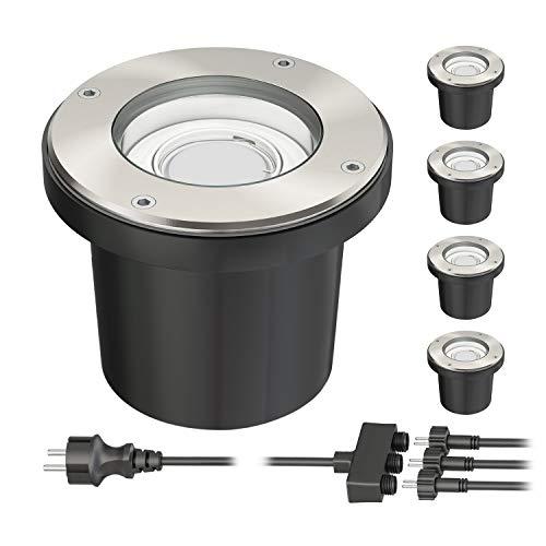 ledscom.de Spot encastré de sol BOS pour extérieur pivotant en acier inoxydable rond IP67 150mm Ø incl. 5,2W LED 400lm blanc 5er Set