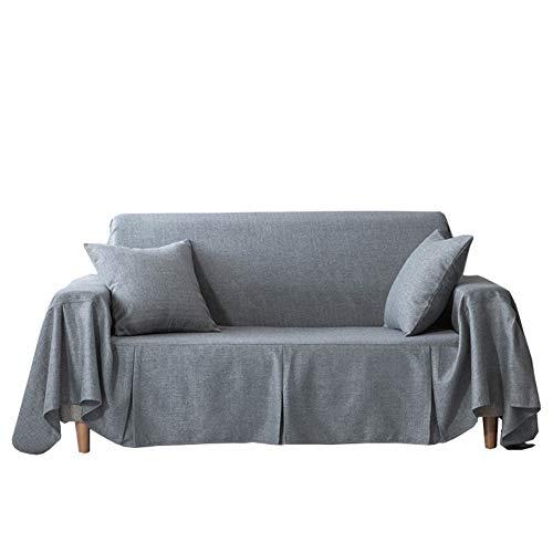 HM&DX Color Sólido Cubierta del Sofá Cubierta para Gatos, Anti-arañazos Funda De Sofá 1 Pieza Europäischer Stil Revestimientos De Sofá para 1 2 3 4 Plazas Sofá-Gris 210x260cm(83x102inch)