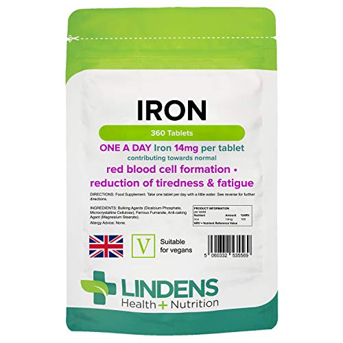 Lindens Iron Tablets - 360 Pack - Contributes to Creating Healthy Red Blood Cells to Reduce Tiredness and Fatigue, Supports Normal Oxygen Transportation - 14mg - UK Manufacturer, Letterbox Friendly