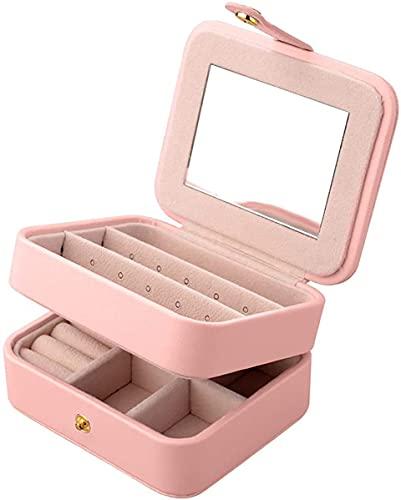 Recet Joyero de piel sintética de 2 niveles con espejo para pendientes, collares, joyas, pulseras, organizadores, caja de joyas (rosa)