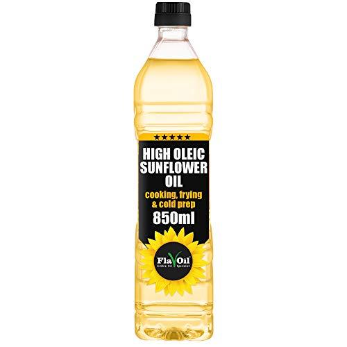 Nuovo Olio di Girasole Alto Oleico FlavOil, Bottiglia da - Sano olio vegetale ideale per la frittura, la cottura e la preparazione a freddo (850ml)