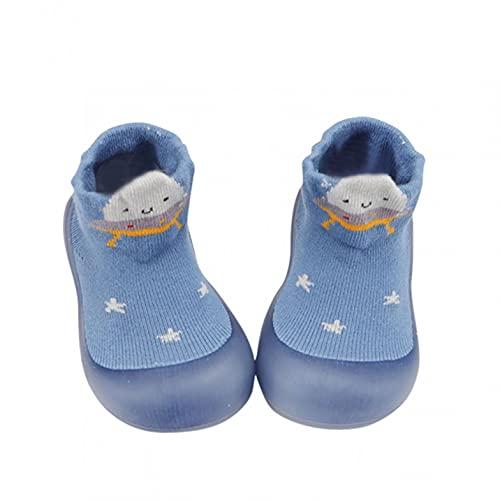Zapatos para bebé de 6 a 12 meses para niñas, zapatos para aprender a andar, zapatos de suelo suave, zapatos para interiores, antideslizantes, zapatos para el suelo, azul, 24