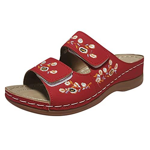 URIBAKY - Sandalias para mujer, transpirables, con suela gruesa, para ocio al aire libre, elegantes, sandalias de playa, Rojo (rojo), 39 EU