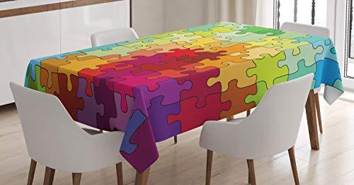 ABAKUHAUS Resumen Mantele, Rompecabezas de Color Hobby, Fácil de Limpiar Colores Firmes y Durables Lavable Personalizado, 140 x 170 cm, Multicolor
