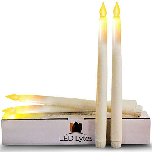 "Tapered Timer Candlesticks Flameless Candles - Set of 4 Battery Operated Flameless LED Candles, Ivory Wax and Amber Yellow Flame, 11"" Tall and 3/4 Base by LED Lytes"
