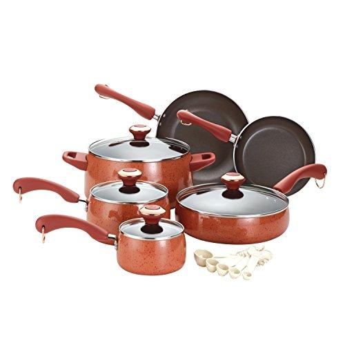 .>Shop Paula Deen Signature Porcelain Nonstick 15-Piece Cookware Set, Coral Specklepaula dean