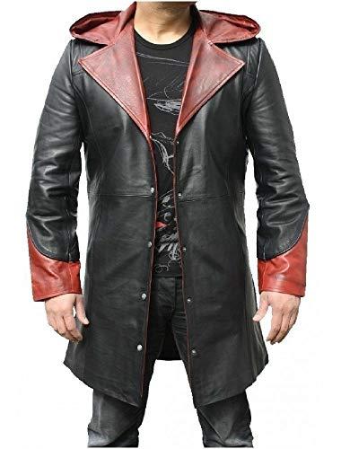 Herren Lederjacke DMC (Devil May CRY) Dante Echtleder Trenchcoat Kostüm mit Kapuze, Schwarz - Echtleder, S