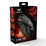 AULA H512 FPS/MMO Gaming Mouse Wired, with 7 Side Buttons Programmable, Rainbow RGB Backlit, DPI&Weight Adjustable, High Performance Ergonomic Optical PC Gaming Mice for Desktop Computer (Black)