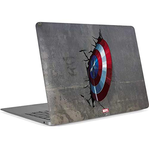 Skinit Decal Laptop Skin Compatible with MacBook Air 13in Retina (2018-2019) - Officially Licensed Marvel/Disney Captain America Vibranium Shield Design