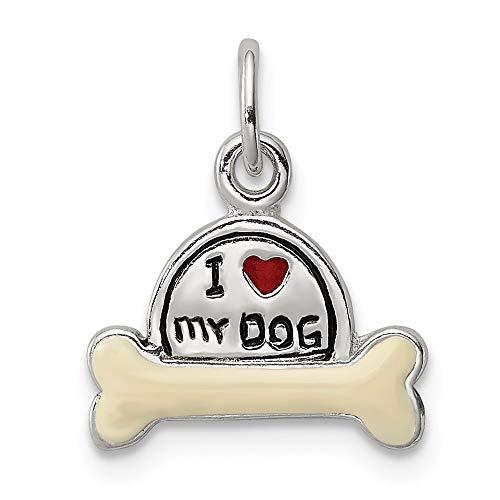 925スターリングシルバーポリッシュドエナメルI Love My Dog Charm [並行輸入品]