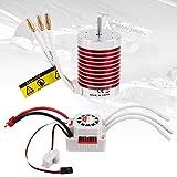 F540 3300KV 4P 3.175mm Shaft Waterproof Brushless Motor 45A ESC Combo Set for 1/10 RC Car (Banana Plug)