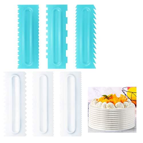 Juego de 6 espátulas para tartas, peine para decoración de tartas y glaseado más suave, de plástico con dientes de sierra, para decorar tartas y hornear, herramienta de bricolaje