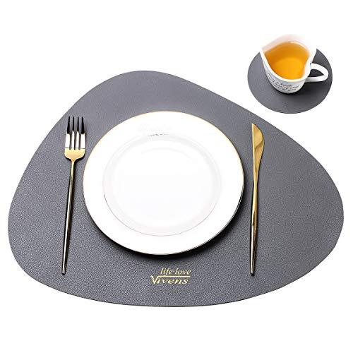 VIVENS Platzset, PU-Leder-Tischsets und Untersetzer 2er-Set, wärmedämmend, schmutzabweisend, rutschfest, Tischset wasserdicht, waschbar, Bunte Tischsets (grau)