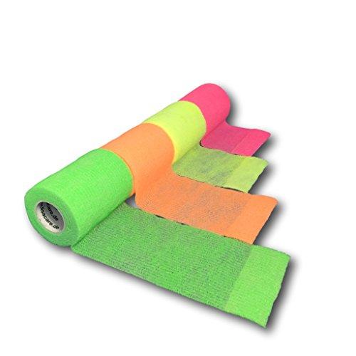 LisaCare NEON-Bandagen   Kohäsive Bandage   Sportverband   Fixierbinde   Wundverband   selbsthaftend elastisch dehnbar   4er/8er-Set mit 2,5-10cm Breite  Auswahlmöglichkeiten (7,5cm Breit, 4er-Mix)