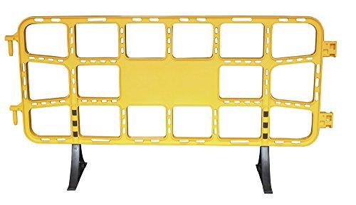 Valla de plástico obra peatonal en color amarillo, valla reforzada con patas extraíbles de 2 metros (1- Valla amarilla)